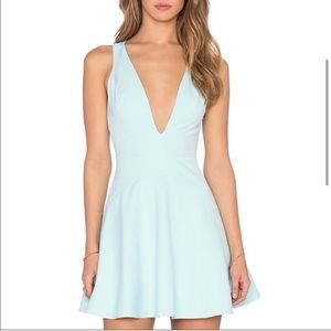 aqua dress with vneck front and criss cross back